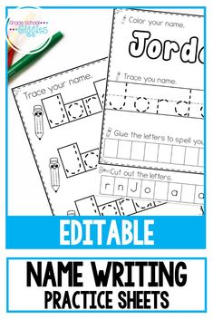 Name writing practice is important for kids in kindergarten. Creating handwriting worksheets for each student in their classroom is a lot of work for teachers. This editable pack of printable sheets makes it a breeze. Simply enter your classroom roster Preschool Names, Kindergarten Writing, Preschool Printables, Kindergarten Teachers, Preschool Learning, Classroom Activities, Motor Activities, Fun Learning, Kindergarten Name Activities