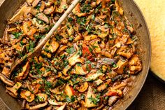 http://www.nytimes.com/recipes/1015198/fresh-and-wild-mushroom-stew.html.  (Omit/replace butter  chicken broth to make vegan.)