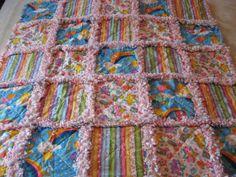 Care Bears Baby Girl Rag Quilt Blanket by farmernurse on Etsy. $40.00, via Etsy.