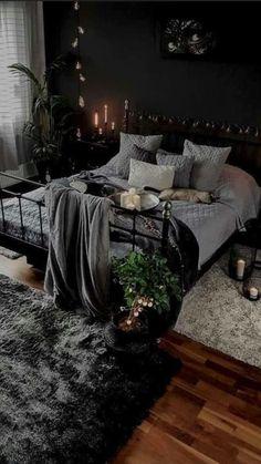 Dark Home Decor, Gothic Home Decor, Black Room Decor, Room Ideas Bedroom, Home Decor Bedroom, Design Bedroom, Modern Bedroom, Dream Rooms, Dream Bedroom