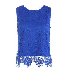 Sans Souci Sleeveless crochet lace top ($29) ❤ liked on Polyvore featuring tops, royal, sleeveless tops, blue sleeveless top, sans souci, blue top and slit top