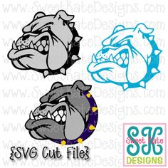 Bulldog Head SVG {Can be a Scrapbook Die Cut or Heat Transfer Vinyl Cut} - Instant Download with JPG