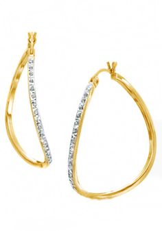 White Natural Diamond Curved Hoop Earrings In 14K Yellow Gold Over Sterling Silver. Adds A Touch Of Nature-Inspired Beauty To Your Look This Hoop Earrings In 14K Yellow Gold Over Sterling Silver Makes a Standout Addition to Your Collection with White Natural Diamond. Natural Daimonds having stunning clarity of I2-I3. Note: Due to the difference between different monitors, the picture may not reflect the actual color of the item. We guarantee the style is the same as. Made in USA.