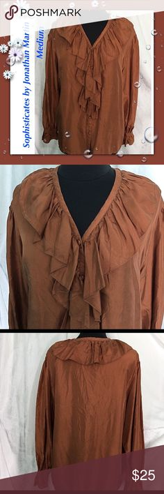"""Sophisticates / Size Medium / Vintage Silk Blouse Sophisticates by Jonathan Martin Size Medium Vintage Brown 100% Silk Blouse Approx Measurements: Bust 47"""" Length 24 1/2""""  Please feel free to make an offer - Enjoy BIG discounts on bundles & save $$$ on shipping! I package safely & ship fast.  TY & Happy Poshing! 💜💜💜 A5 Jonathan Martin Tops Blouses"""