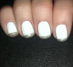 With white being so big for Spring we had to do another white nail with a twist. Here we added GelEnvy in Sterling to the tips of these for a Metallic French look.