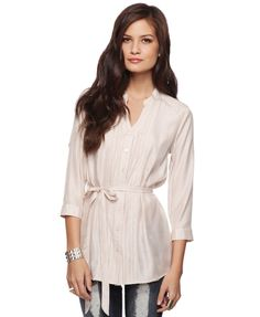 Flat Collar Top with Belt - $19.80 Forever 21