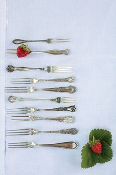 """""""Throughout the mid- to late-1800s and early 1900s, many sterling-silver and silver-plate flatware patterns included strawberry forks as part of the standard collection."""""""