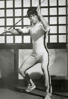 Bruce Lee with bamboo whip in The Game of Death