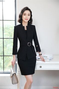 New Styles 2018 Spring Summer Formal Professional Blazers Suits With Jackets  And Dress For Ladies Office Work Sets Plus Size a3c019ccee6f
