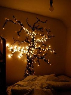 """Christmas lights can be added to just about any bedroom in your home to create a magical and cozy ambiance. I love the idea of a """"night light"""" or just for deco My New Room, My Room, Girl Room, Hanging Christmas Lights, Holiday Lights, Xmas Lights, Hanging Lights, Fairy Lights On Wall, Diy Lampe"""