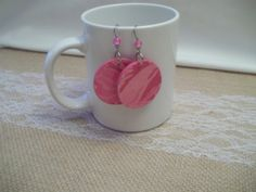 Pink Decoupage Earrings Double Sided Earrings by CraftyGalBoutique
