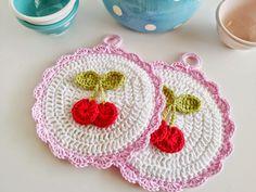 hopscotch lane: New Pattern! Cherry Crochet Potholder
