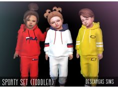 The Sims 4 Sporty Set by descargassims Sims 4 Toddler Clothes, Sims 4 Cc Kids Clothing, Toddler Boy Outfits, Kids Outfits, Los Sims 4 Mods, Sims 4 Game Mods, Sims 4 Teen, Sims Cc, Tumblr Sims 4