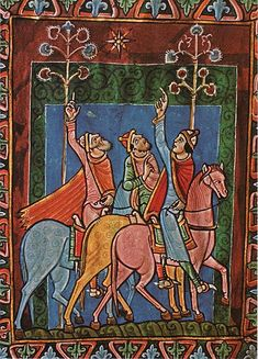 The Three Magi from the St. Albans Psalter, English, 12th century.