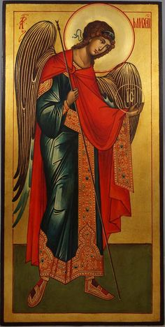 St Archangel Michael (full body) - This is a premium quality icon painted using traditional technique - egg tempera, solid lime wood panel, varnish, gold leaf.A matching set icon of Saint Archangel Gabriel in the same size and style can be found here. About our icons Blessedmart offers hand-painted religious icons that follow the Russian, Greek, Byzantine