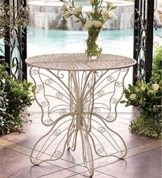 Amazon.com : White Metal Butterfly Table : Patio Tables : Patio, Lawn & Garden