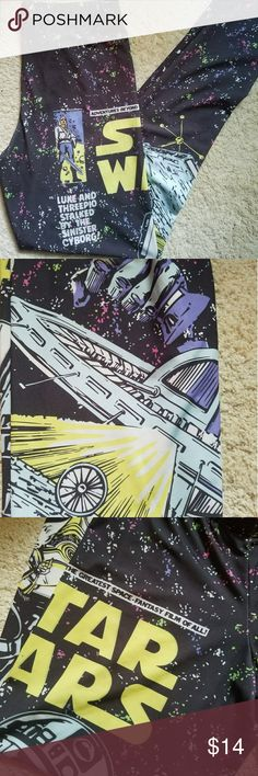 Starwars leggings sz med Starwars leggings like new. Still available in stores for $25. Super comfy polyester fabric. Please contact me with any questions. Mighty Fine Pants Leggings