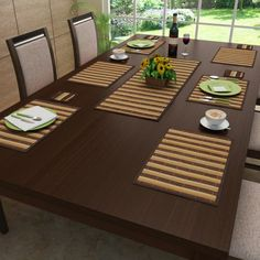 Bon appetite! An exotic #Stripes #BambooTableMat #Brown
