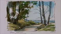 A Pen and Wash Watercolor tutorial of a Trail To the Lake. Very easy and...