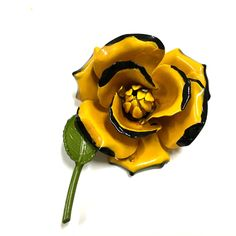 Big! Vtg MOD 60's Yellow Enamel Rose Flower Brooch Pin  Available at Dellagraces Vintage Jewelry on Ebay
