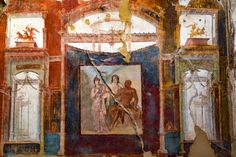 before 79 AD - Probably the most famous fresco in all of this ancient Roman city and whom it is named after, Hercules. Fresco depicts Hercules, Minerva and Juno. HERCULANEUM, Napoli, Italia