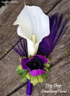 Calla Lily, French Anemone, and Peacock Feather Boutonniere - White and Purple Feather Boutonniere, White Boutonniere, Groom Boutonniere, Prom Flowers, Wedding Flowers, Floral Bouquets, Wedding Bouquets, Purple Wedding, Floral Wedding