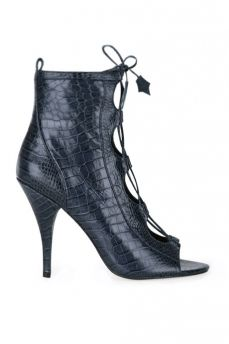 Isa Tapia | Nadia Lace-Up Booties - Midnight | My Chameleon