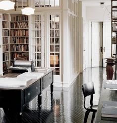 Love the library// window walls// french doors// clerestory windows!