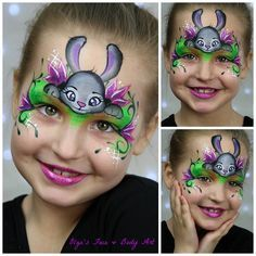 Adorable bunny rabbit or Easter face painting tutorial.  Great step-by-step instructions on video.  Purple flowers add a touch of beauty and the rabbit is just so cute!  By Olga's Face & Body Art