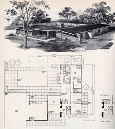 Vintage House Plans, Modern House Plans, House Floor Plans, Vintage Homes, Mid Century Ranch, Mid Century House, Vintage Architecture, Architecture Plan, Mcm House