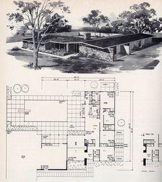 Vintage House Plans, Modern House Plans, House Floor Plans, Vintage Homes, Mid Century Ranch, Mid Century House, Mcm House, Architectural House Plans, House Blueprints
