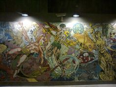Foto1154Parque das Nações:  Assim que você chega na estação de metrô, que tem esses azulejos 'grafitados':