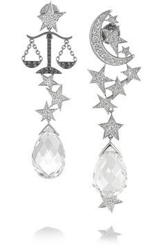 LYDIA COURTEILLE 18-karat white gold, quartz and diamond earrings
