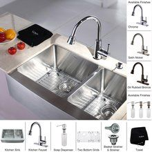 "View the Kraus KHF203-33-KPF2220-KSD30 32-7/8"" Farmhouse 60/40 Double Bowl 16 Gauge Stainless Steel Kitchen Sink with Pullout Spray Kitchen Faucet and Soap Dispenser at FaucetDirect.com."