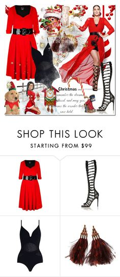 """""""happy holidays"""" by bellamonica ❤ liked on Polyvore featuring H&M, City Chic, WithChic, Zimmermann and Louis Vuitton"""