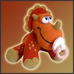 Amigurumi Pattern Crochet Baby Triceratops Dinosaur DIY Instant Digital Download PDF