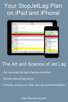 StopJetLag on iPhone and iPad has been updated for iOS 8 with Rev 3.5 and is now available in the Apple App Store. You can now conveniently and consistently beat jet lag with the art and science of jet lag.