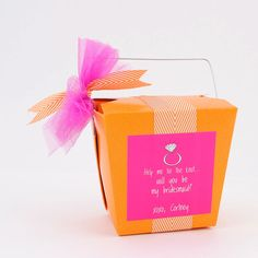 Pretty packaging idea for your bridesmaid favors. #MisstoMrs #bacheloretteparty #bridalshower #bridesmaidgift #bride2be #partybride #engaged #bridetobe #bride #wedding #igotmygirls #love #weddingparty #orangeandpink #takeoutbox #partyfavors #partyplanning #tietheknot #bemybridesmaid #customlabels #weddinglabels