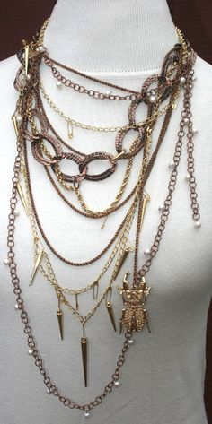 Necklace Statement Necklace Multistrand by HighCaliberCouture, $250.00