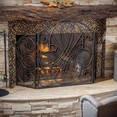 Wrought Iron Fireplace Screen Rustic Decorative Black Brushed Gold Finish Mesh #GDFStudio #Traditional