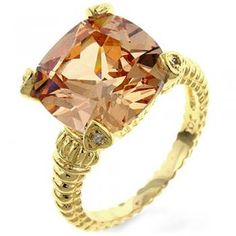 Gold Catwalk Cable Ring in Cognac $59.95