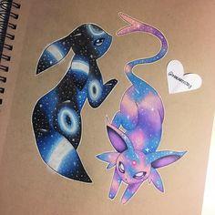 Beautiful Umbreon and Espeon art Pokemon Tattoo, Gif Pokemon, Pokemon Fan Art, Cute Animal Drawings, Kawaii Drawings, Disney Drawings, Cute Drawings, Umbreon And Espeon, Pokemon Eevee Evolutions