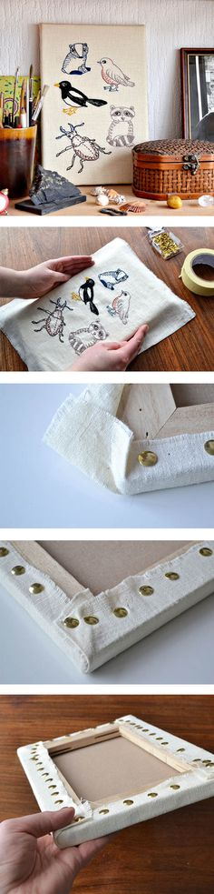 easy tutorial on how to mount embroidery on art canvas