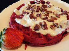 red velvet waffles with cream cheese glaze...