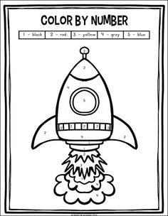 Outer Space Preschool and Kindergarten Math Worksheets Packet Color by number rocket coloring page (from the free outer space preschool and kindergarten math worksheets packet on Real Life at Home) Preschool Rocket, Space Crafts Preschool, Outer Space Crafts For Kids, Outer Space Activities, Rocket Math, Space Activities For Preschoolers, Planets Preschool, Rocket Craft, Free Activities