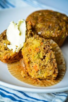 Zucchini Muffins (with carrot and pineapple)- From Scaling Back (may have to search site for recipe to come up), I added walnuts, 1/4 c. flax meal, 1/4 c. almond meal, 1/4 c. oat bran, 2 T wheat germ
