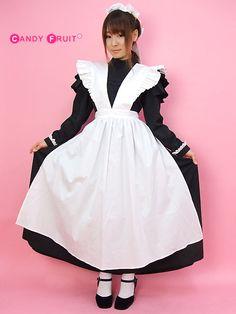 【送料無料】史実に基づいて忠実にキャンフルが作ってみたクラシックロングメイド服♪専用エプロンもセットです♪ヴィクトリアンメイド服【大きいサイズXLあり】Japanese Maid Kawaii Costume