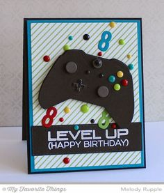 birthday Level Up, Game Controller Die-namics, Diagonal Stripes Background, Horizontal Stitched Strips Die-namics, Little Numbers Die-namics - Melody Rupple Birthday Cards For Boys, Handmade Birthday Cards, Happy Birthday Cards, Happy Birthday Gamer, Birthday Cards Images, Birthday Boys, Tarjetas Diy, Karten Diy, Creative Cards