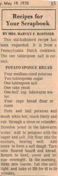 Recipe clipping for Potato Sponge Bread Retro Recipes, Old Recipes, Cookbook Recipes, Vintage Recipes, Bread Recipes, Cooking Recipes, Naan, Wartime Recipes, Depression Era Recipes