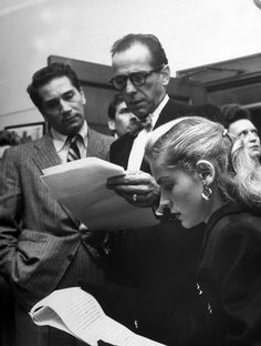 """Fighting The Red Scare With The Bow Tie And Polo Collar Crowd"" Richard Conte, Humphrey Bogart, and Lauren Bacall at a hearing charging the House Un-American Activities Committee with violating civil rights, 1947. via voxsart"